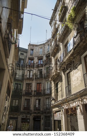 A old building in a Barcelona city - stock photo