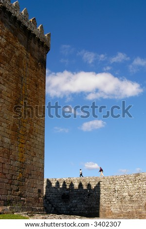 a old couple inside the castle in portugal