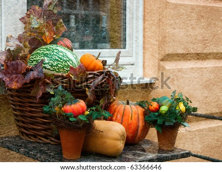 A   old  grungy photo of a house decorated for Halloween - stock photo