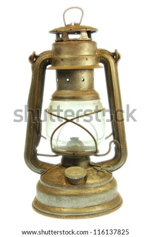 A Old petrol lamp with white background - stock photo