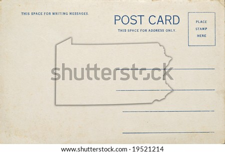 A old postcard with a Pennsylvania map outline. Dirt and scratches at 100%.