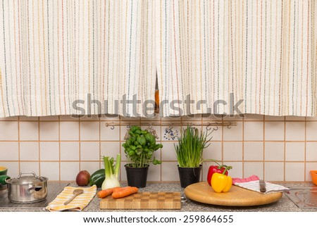 a old retro kitchen with vegetables and fruits - stock photo