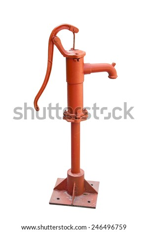 A old rusted water pump isolated on a white background. Rusty water pump. - stock photo