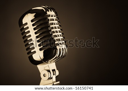 A old style microphone close up - stock photo