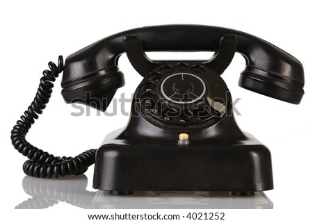 a old telephone on white background