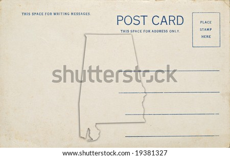 A old vintage blank postcard with an Alabama state outline. Dirt and scratches at 100%.