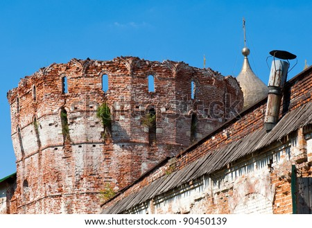 A old wall of a monastery - stock photo