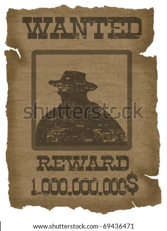 A old wanted poster with a cowboy silhouette - stock photo
