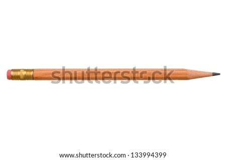 A old wooden pencil isolated white background - stock photo