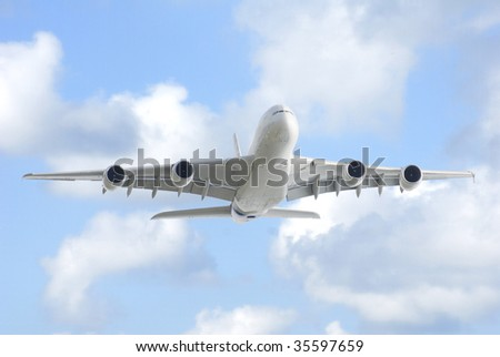 A380 on blue sky - stock photo