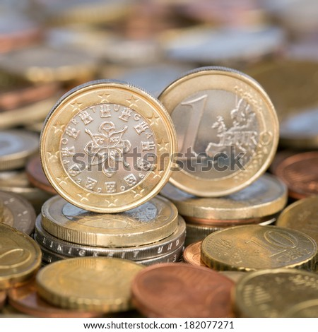 A one Euro coin from the European Union currency member country Portugal - stock photo