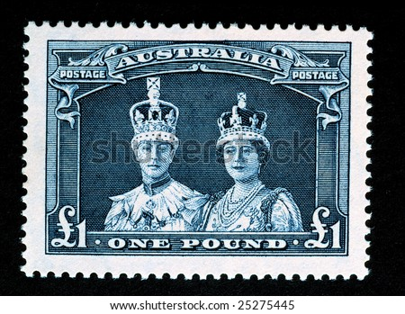 A one pound Australia stamp of King George and Queen Mary