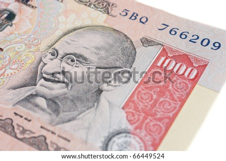 A one thousand rupee note (Indian Currency). - stock photo
