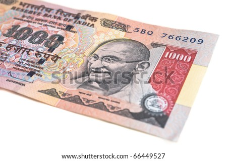 A one thousand rupee note (Indian Currency) isolated on a white background. - stock photo