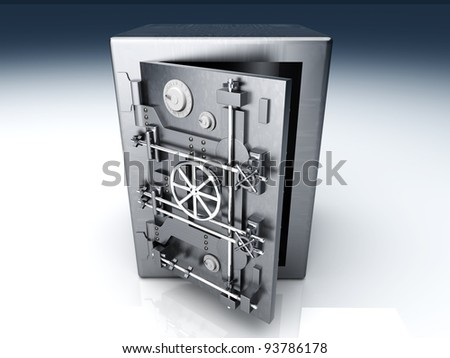 A open bank safe. 3D rendered Illustration.