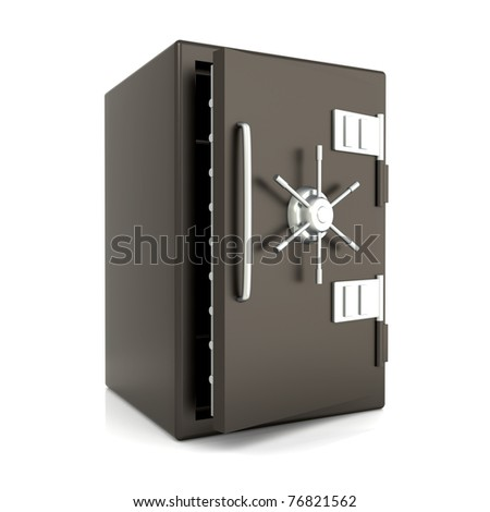 A open bank safe. 3D rendered Illustration. Isolated on white. - stock photo