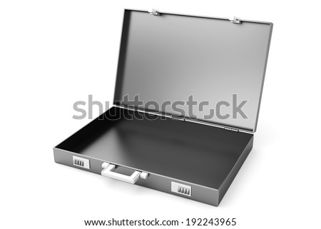 A open Briefcase isolated on white. 3D illustration.