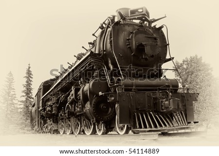 "A ""4-8-4"", or ""Northern"" type steam train engine built by The Montreal Locomotive Works for Canadian National Railways in 1942. The style is in a vintage, early 20th century / late 19th century image."