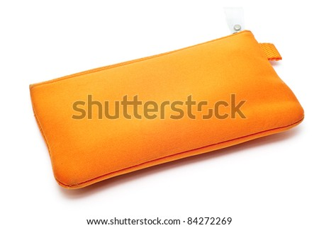 a orange pencil case isolated - stock photo