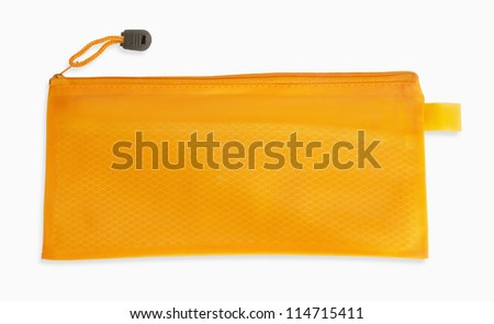 A orange pencil case isolated on white background - stock photo