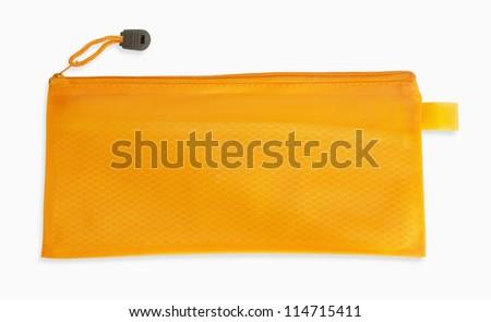 A orange pencil case isolated on white background - stock photo