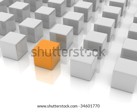 a orange reflective cube placed in a group of gray cube.