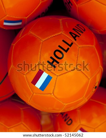 a orange soccerball with dutch flag - stock photo