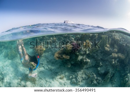 A over-and-under photograph of a free diver on a coral reef with the dive boat at the surface and a blue sky.