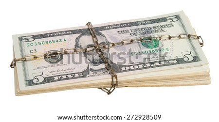 A pack dollars tied a chain isolated on a white background