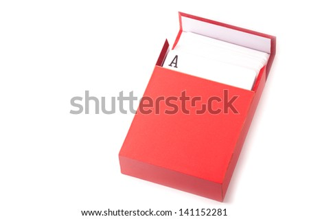 A pack of card inside a red box isolated on white background - stock photo