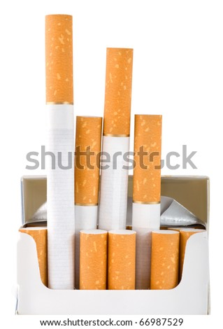 A pack of cigarettes isolated on a white background (Path)