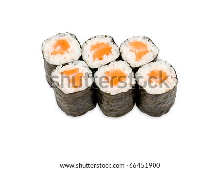 a pack of sushi rolls with salmon - stock photo