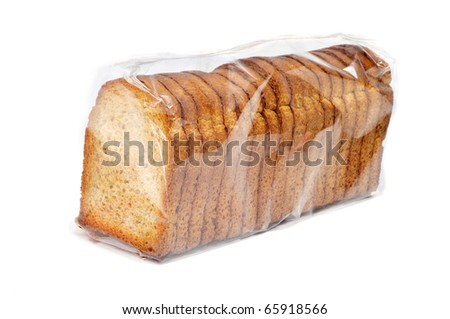 a package of bread rusks isolated on a white background - stock photo