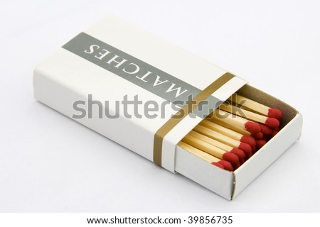 A package of matches, isolated on white background. - stock photo