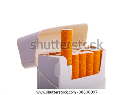 A packet of cigarettes in close-up on a white background