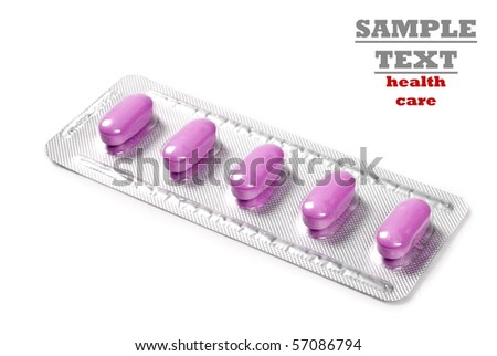 a Packet tablets on a pure white background with space for text - stock photo