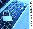 A padlock on keyboard. Data security and protection. - stock photo