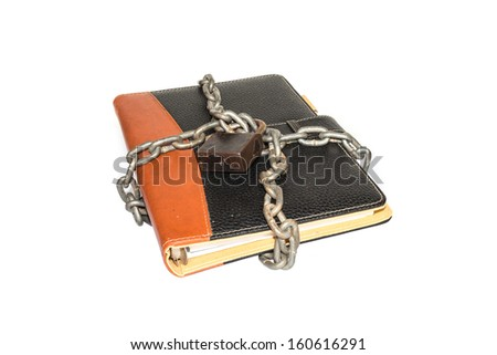 A padlock protects the secrets in a book - stock photo