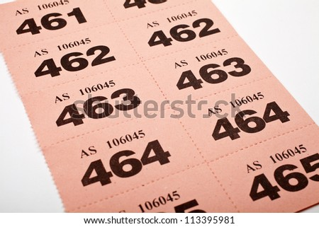 A page of Raffle tickets. - stock photo
