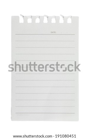 A page ripped off from the notebook on white background - stock photo