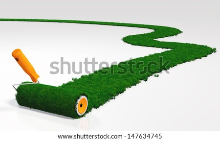 a paint roller with an orange handle, is painting a grassy path on a white ground using lawn instead a color