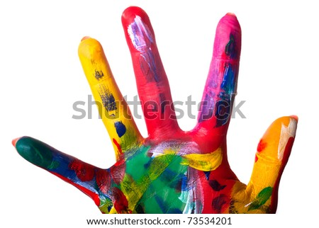 a painted colorful hand close up against white background
