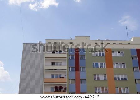 A painted condominium in Poland - stock photo