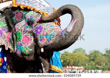 A painted elephant at the Elephant Festival in Jaipur, India - stock photo
