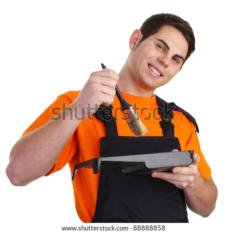A painter in his overalls - stock photo