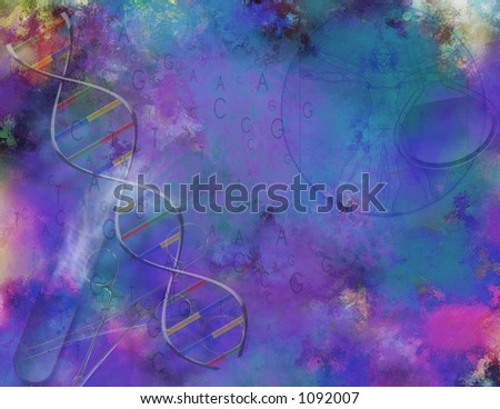 A painterly Science and DNA Composition - stock photo