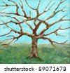 a painting of a bare-leafed tree - stock photo