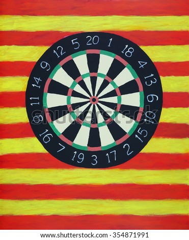 a painting of a dartboard - stock photo
