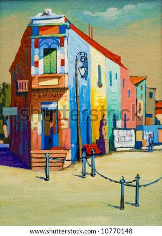 A painting of a street in Argentina, - stock photo