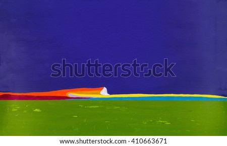 A painting of an imaginary landscape or seascape - stock photo